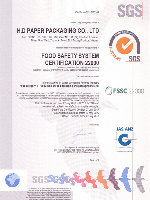 FSSC22000-2013 HD Paper Packaging Co., Ltd
