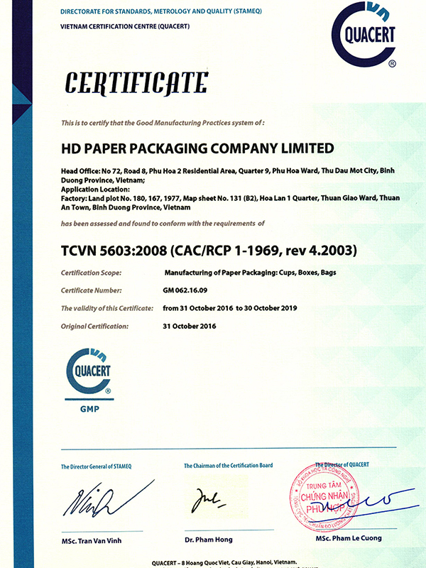 GMP-TCVN 5603:2008 HD Paper Packaging Co., Ltd